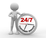 Customer service. 3d people - man, person a clock. Customer service 24/7 Stock Photos