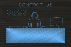 Customer service desk with employee answering calls, contact us. Contact us: customer service man with headphones working at his desk Royalty Free Stock Images