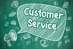 Customer Service - Doodle Illustration on Blue Chalkboard. Stock Images
