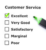 Customer service evaluation. Form with green tick on Excellent with felt tip pen Stock Image