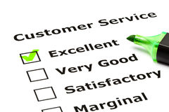 Customer service evaluation form. With green tick on Excellent with felt tip pen Royalty Free Stock Image