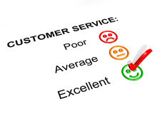 Customer Service Excellent Rating. Customer Service Feedback Form Showing an Excellent Rating Royalty Free Stock Images