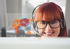 Customer service executive and digitally generated world map Stock Image