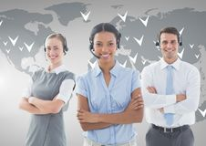 Customer service executive in headset standing with arms crossed Stock Images