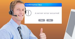 Customer service executive showing thumbs up by dialog box Royalty Free Stock Photography