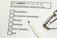 Customer Service Feedback. Form with blue tick on very satisfied Stock Photography