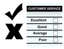 Customer Service feedback form. Blank customer service feedback form, isolated on white background Stock Photos