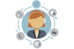 Customer service. Female customer service with earphone and items Royalty Free Stock Images