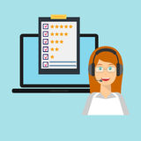 Customer service, female, laptop. Customer service rating flat illustration. Call centre. Job recruitment, business, career choices, evaluation, review, customer Royalty Free Stock Image