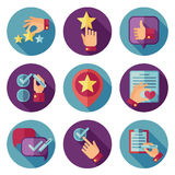 Customer service flat vector icons set. Customer icon, service customer icon, comment writing customer illustration Stock Photo