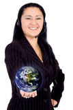 Customer service girl - globe Stock Photography