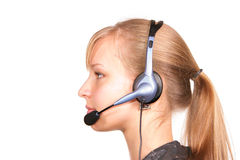 Customer service girl isolated Royalty Free Stock Photography