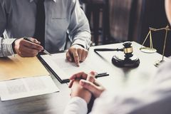 Customer service good cooperation, Consultation between a Businessman and Male lawyer or judge consult having team meeting with c. Lient, Law and Legal services stock image