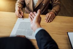 Customer service good cooperation, Consultation between a Businesswoman and Male lawyer or judge consult having team meeting with royalty free stock images