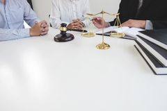 Customer service good cooperation, Consultation between a male l. Awyer and business people customer, tax and the company of real estate concept Stock Photos
