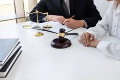 Customer service good cooperation, Consultation between a male l. Awyer and business people customer, tax and the company of real estate concept Stock Photography