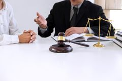 Customer service good cooperation, Consultation between a male l. Awyer and business people customer, tax and the company of real estate concept Stock Photo