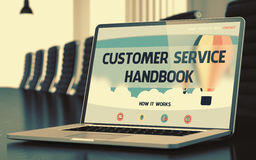 Customer Service Handbook Concept on Laptop Screen. 3D. Laptop Display with Customer Service Handbook Concept on Landing Page. Closeup View. Modern Conference Royalty Free Stock Photos