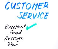 Customer service handwritten rating. Customer service questionnaire  tick box Royalty Free Stock Images