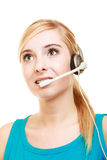 Customer service headset woman talking giving online help. Girl with headphones microphone. Customer service representative headset woman talking giving online Stock Images