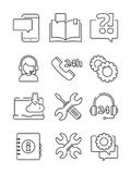 Customer service help icon. Office web or online and telephone support center admin vector linear symbols isolated. Illustration of help service, support info royalty free illustration