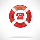 Customer Service Support. Hotline for care and support concept with red lifebuoy with words advice, support, assist and guide and telephone icon royalty free stock photos