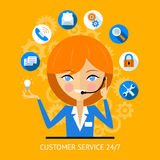 Customer service icon of a call center girl Royalty Free Stock Photo