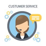 Customer service icon. Woman silhoutte with headset and mic stock illustration