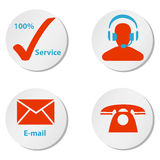 Customer service icons buttons and symbols. Round white and red buttons or icons for internet and telephone customer service Royalty Free Stock Photos