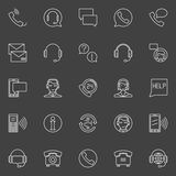 Customer service linear icons. Vector set of support service signs or call center logo elements on dark background Stock Photography