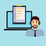 Customer service, male, laptop. Customer service rating flat illustration. Call centre. Job recruitment, business, career choices, evaluation, review, customer Stock Image