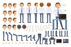 Customer service. Man Character creation set.Icons with different types of faces and hair style, emotions, front,rear,side view of male person. Moving arms vector illustration