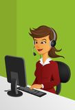 Customer Service Officer. With headset in fron of monitor Stock Image