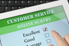 Customer service online survey. On screen Stock Photos