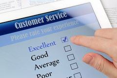 Customer service online survey. On screen Royalty Free Stock Images