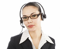 Customer service operator. Beautiful customer service operator woman with headset, isolated on white background Royalty Free Stock Images