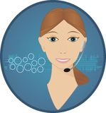 Customer Service Operator. Friendly female customer service operator on a telephone headset waiting to help with your enquiries Royalty Free Stock Photos