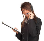 Customer service operator girl in headset Royalty Free Stock Images