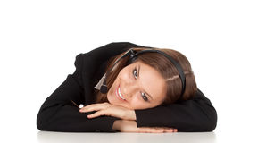 Customer service operator girl in headset Royalty Free Stock Photography