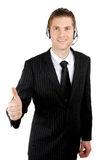 Customer service operator giving thumbs up Royalty Free Stock Photo