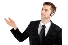 Customer service operator with hand raised Royalty Free Stock Image