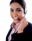 Customer service operator holding mic Stock Image