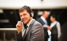 Customer service operator talking on headse Stock Images