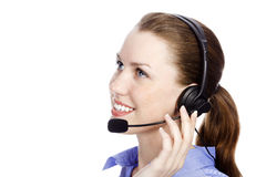 Customer service operator woman. Headshot of beautiful customer service operator woman with headset, isolated on white background Royalty Free Stock Photo