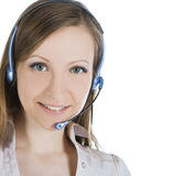 Customer service operator woman with headset. Beautiful customer service operator woman with headset Royalty Free Stock Images