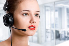 Customer service operator woman with headset Stock Photos