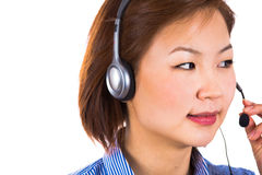 Customer service operator woman with headset smiling Stock Photo