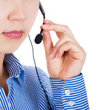 Customer service operator woman with headset smiling Royalty Free Stock Photos