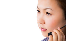 Customer service operator woman with headset smiling Stock Image