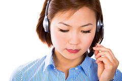 Customer service operator woman with headset smiling Royalty Free Stock Photo